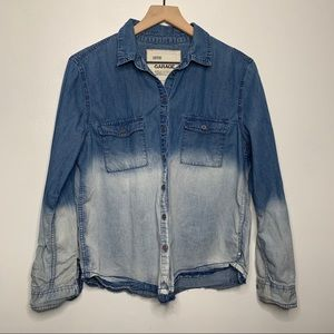 Garage Blue Ombré Button Up Jean Long Sleeve Shirt